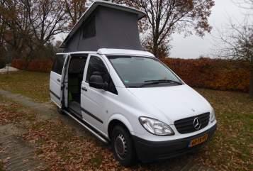 Kampeerbus Mercedes Vito WitteVito in Wijster huren van particulier